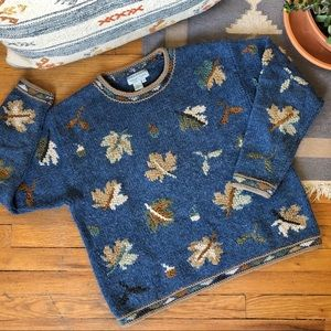 Vintage Wool Leaf Patterned Sweater